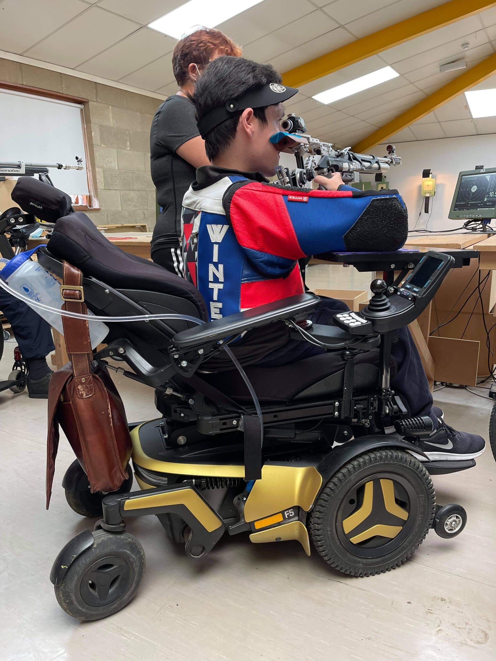 Josh demonstrating the versatility of the Permobil wheelchair
