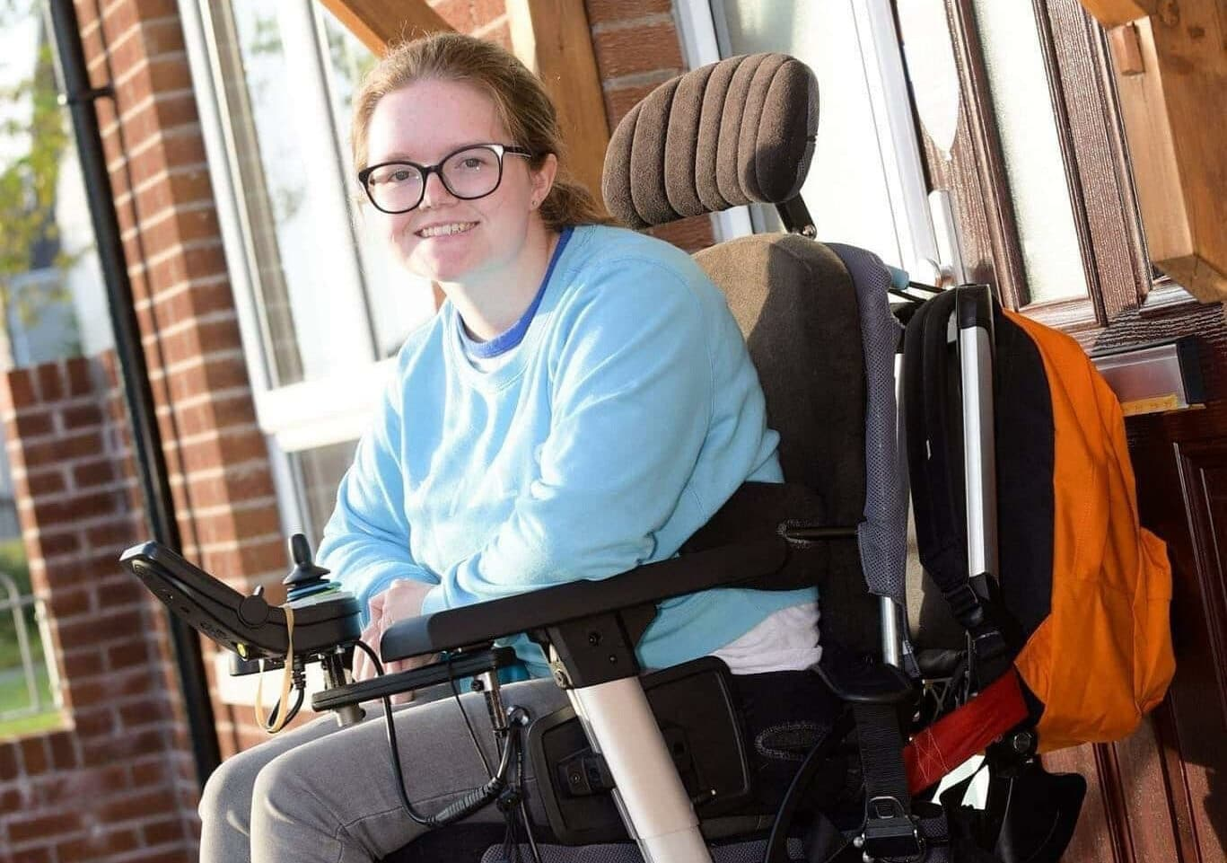 Claire Taggart in her powerchair